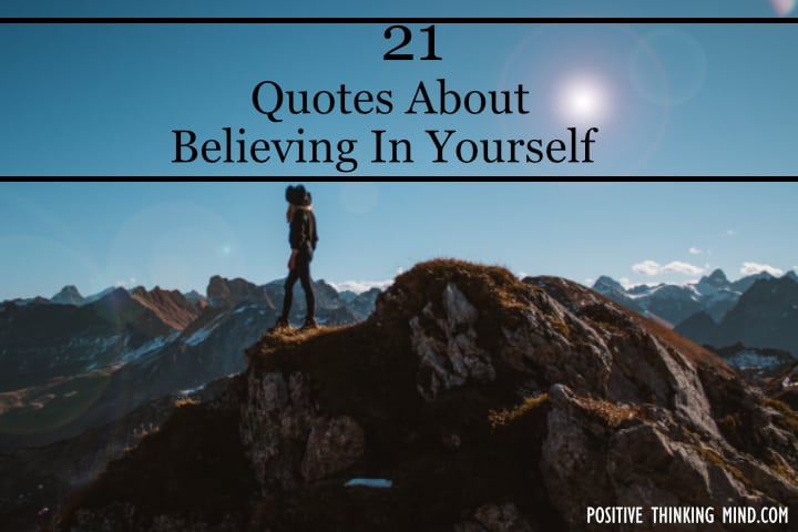 Woman on mountain, believe in yourself quotes